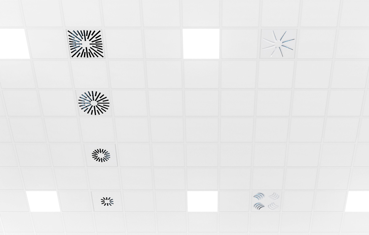 UV Diffusers Installed in Ceiling for Air Filtration and Disinfection